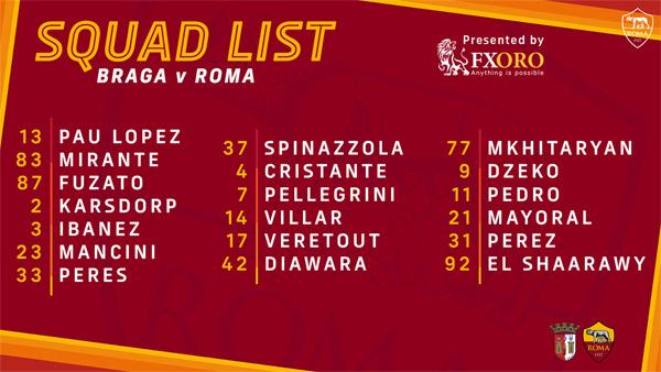 braga roma aller squad